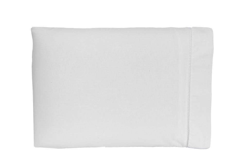 Kit Fronha 50 x 70 cm Percal 150 Fios 100% Algodão Ponto Palito 10 Unidades - Branca