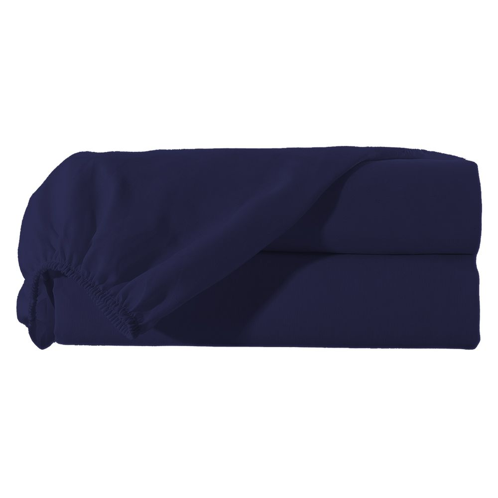 Lençol Casal  com Elastico Percal Misto 180 fios Avulso - Azul Marinho