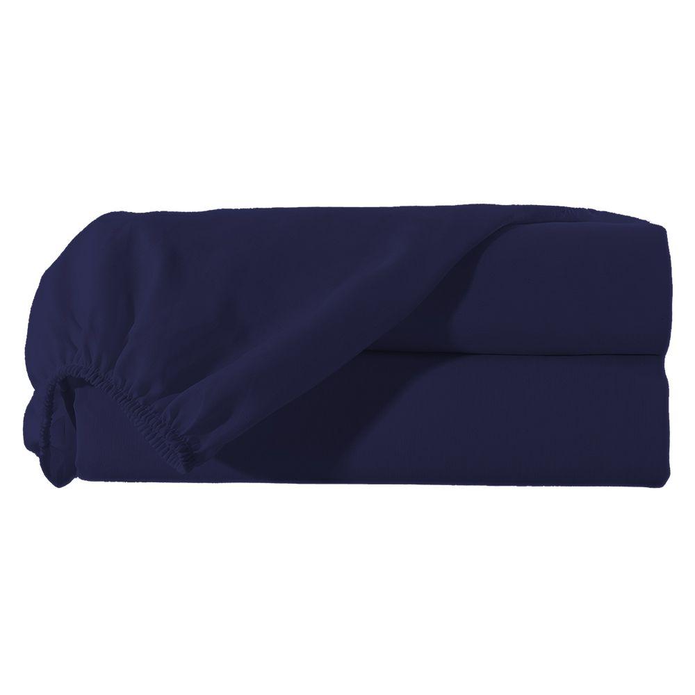Lençol Queen com Elastico Percal Misto 180 fios Avulso - Azul Marinho