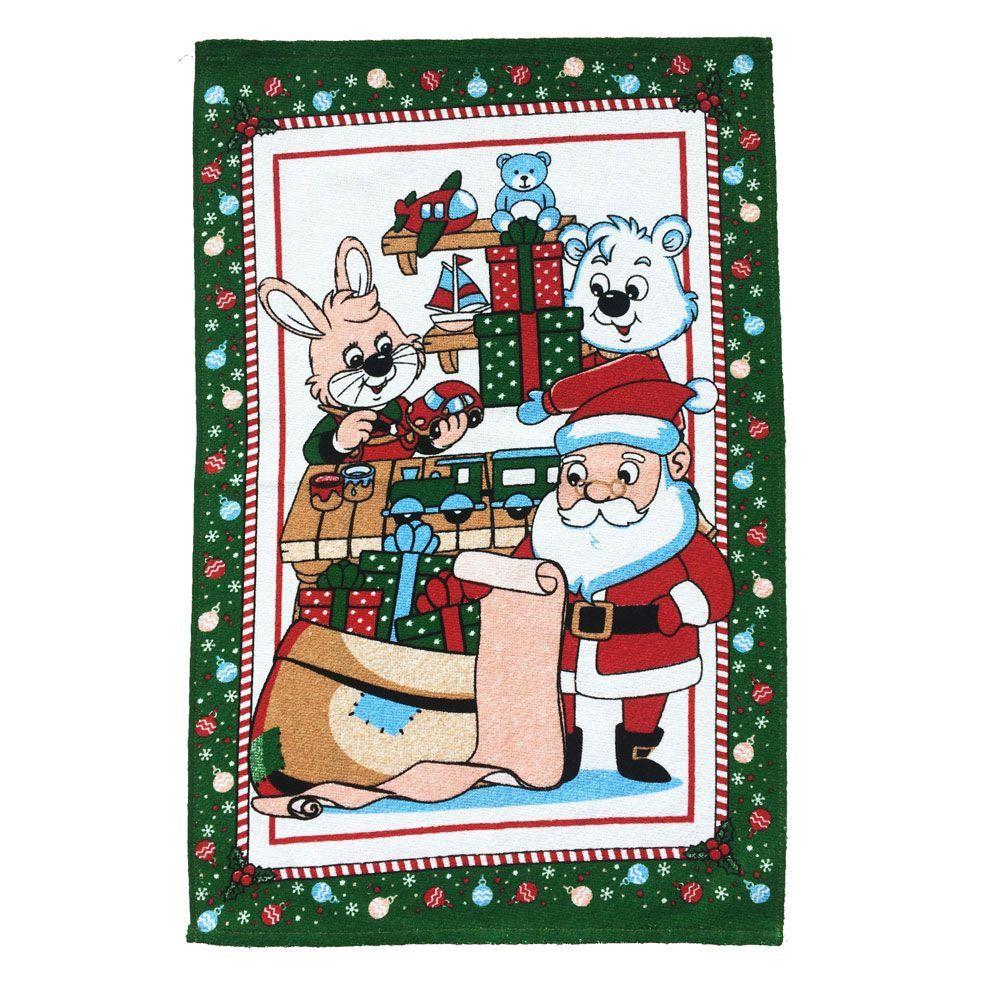 Pacote de Pano de Prato Felpudo Estampado Natal com 12 unidades