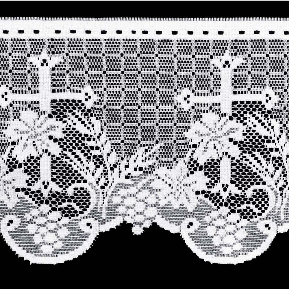 Renda Litúrgica Cruz e Flor Tamanho Variado x 30 cm largura - (16730) - Confira Tamanhos!