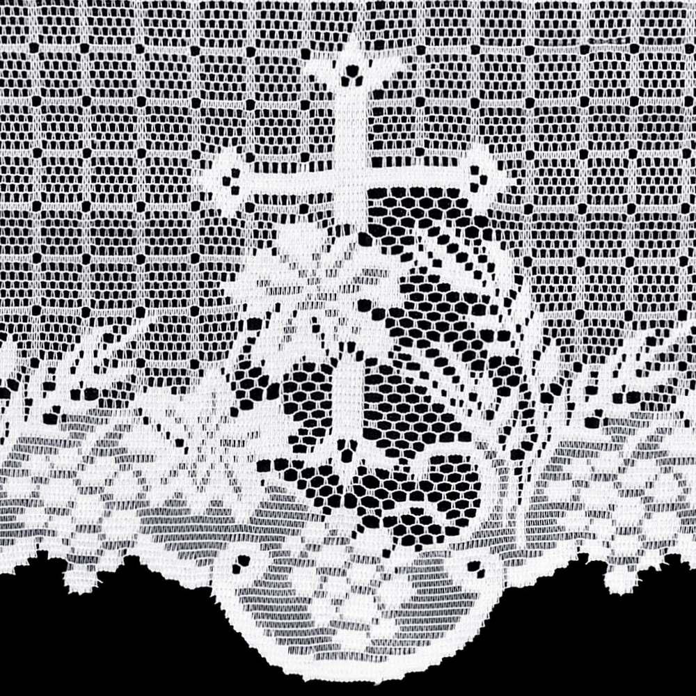 Renda Litúrgica Cruz e Flor Tamanho Variado x 30 cm largura (16730) - ML