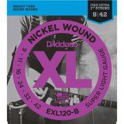 Encordoamento DADDARIO Guitarra 009 EXL120-B Super Light
