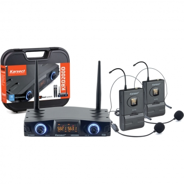 Microfone KARSECT Sem Fio Duplo Headset UHF KRD200DH