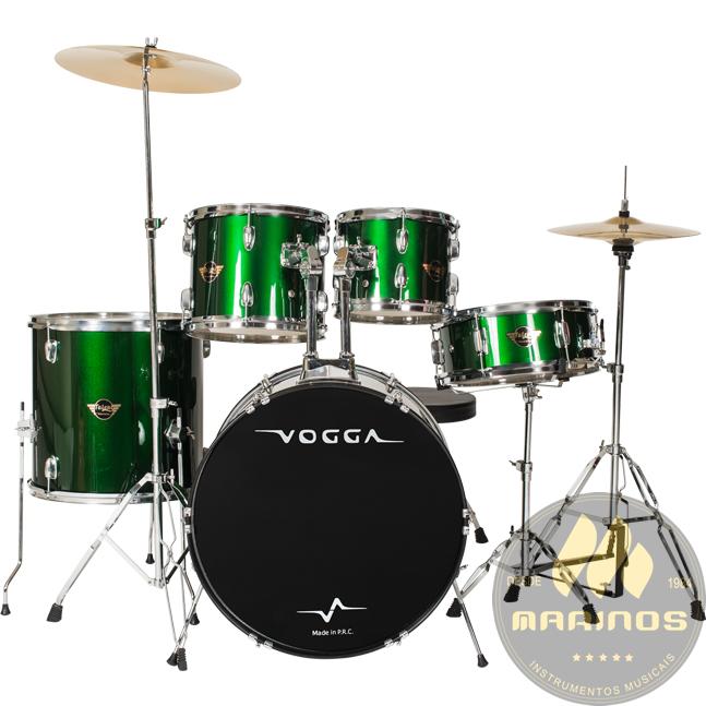 Bateria Acústica VOGGA 20,14,10,12 cx 14 VPD920 GR Verde