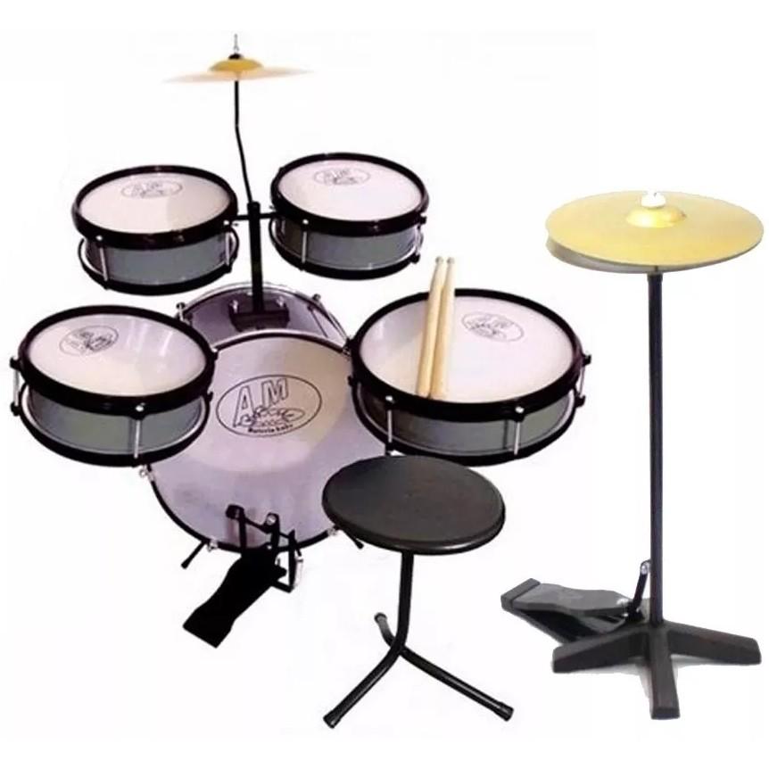 Bateria Infantil ROCK BABY Acústica 2 Tons AM2 + Chimbal PRATA
