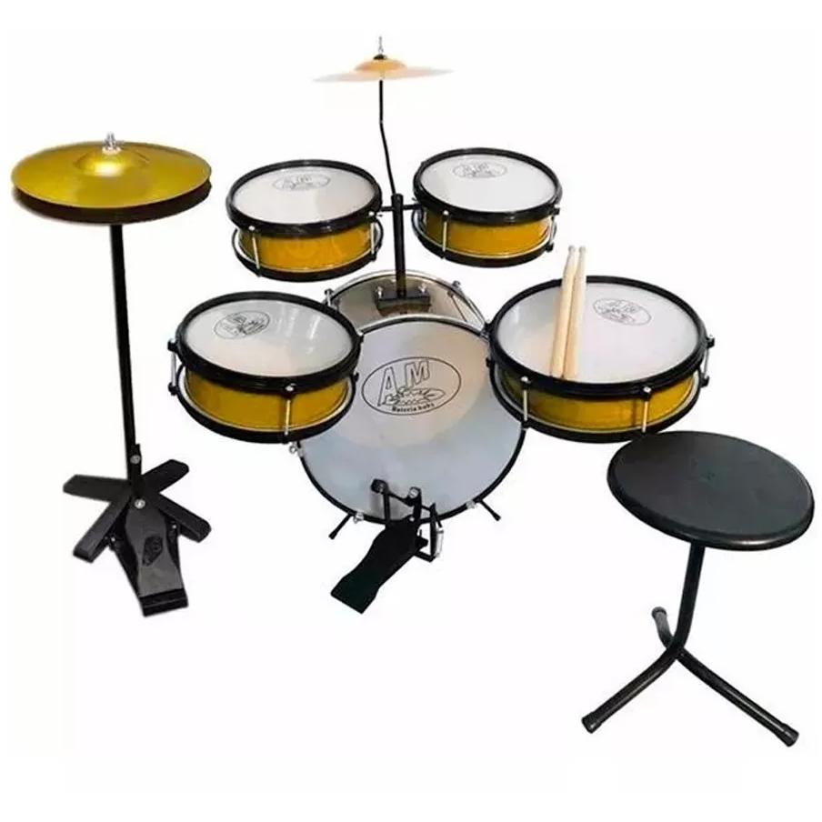 Bateria Infantil ROCK BABY Acústica 2 Tons AM + Chimbal DOURADO