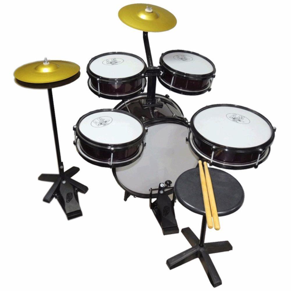 Bateria Infantil ROCK BABY Acústica 2 Tons AM + Chimbal PRETO