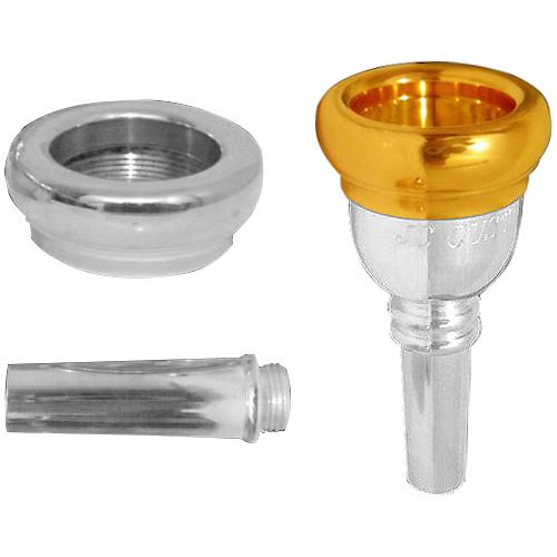 Bocal Trombone Euphonium JC CUSTOM CALIBRE DUPLO 6 1/2 BACH Dourado e Prata