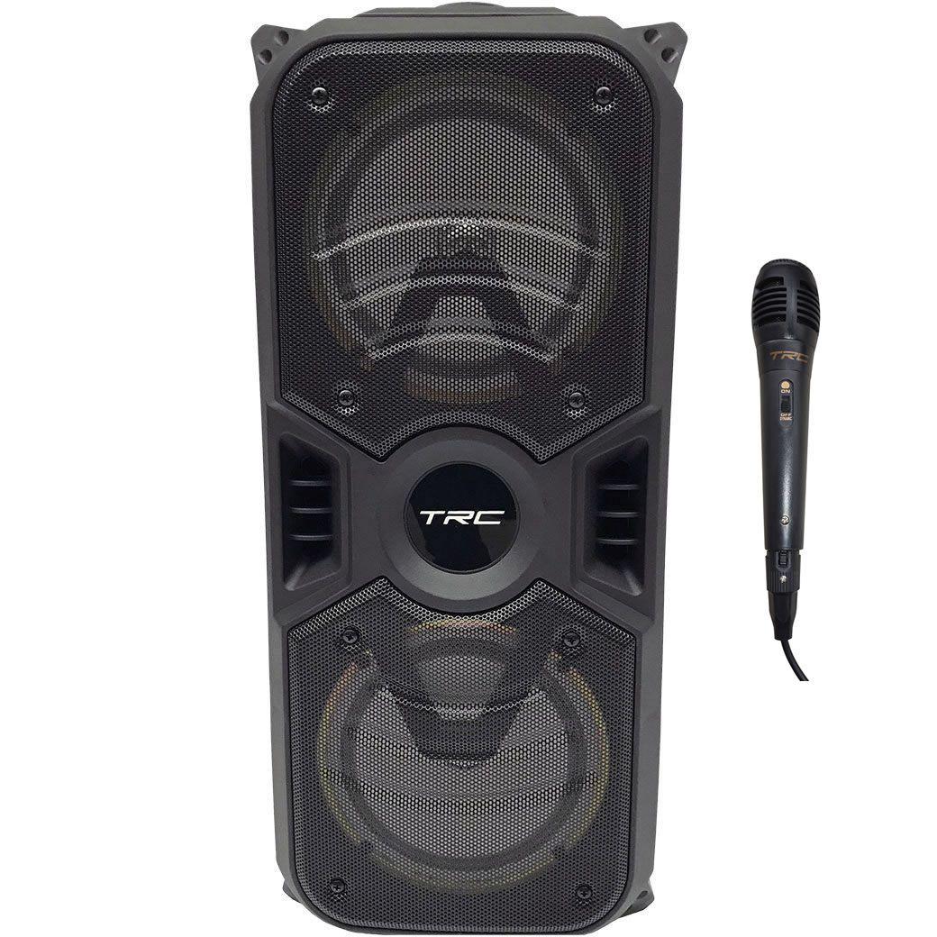 Caixa De Som Portátil TRC 150W TRC 334 Bluetooth USB Led C/ Microfone com fio