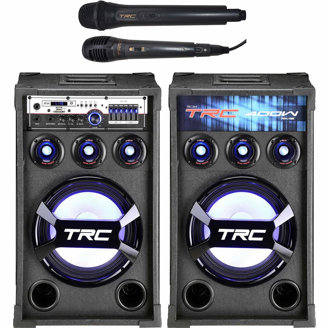 Caixa de Som TRC Amplificada 400W TRC 369 Bluetooth USB