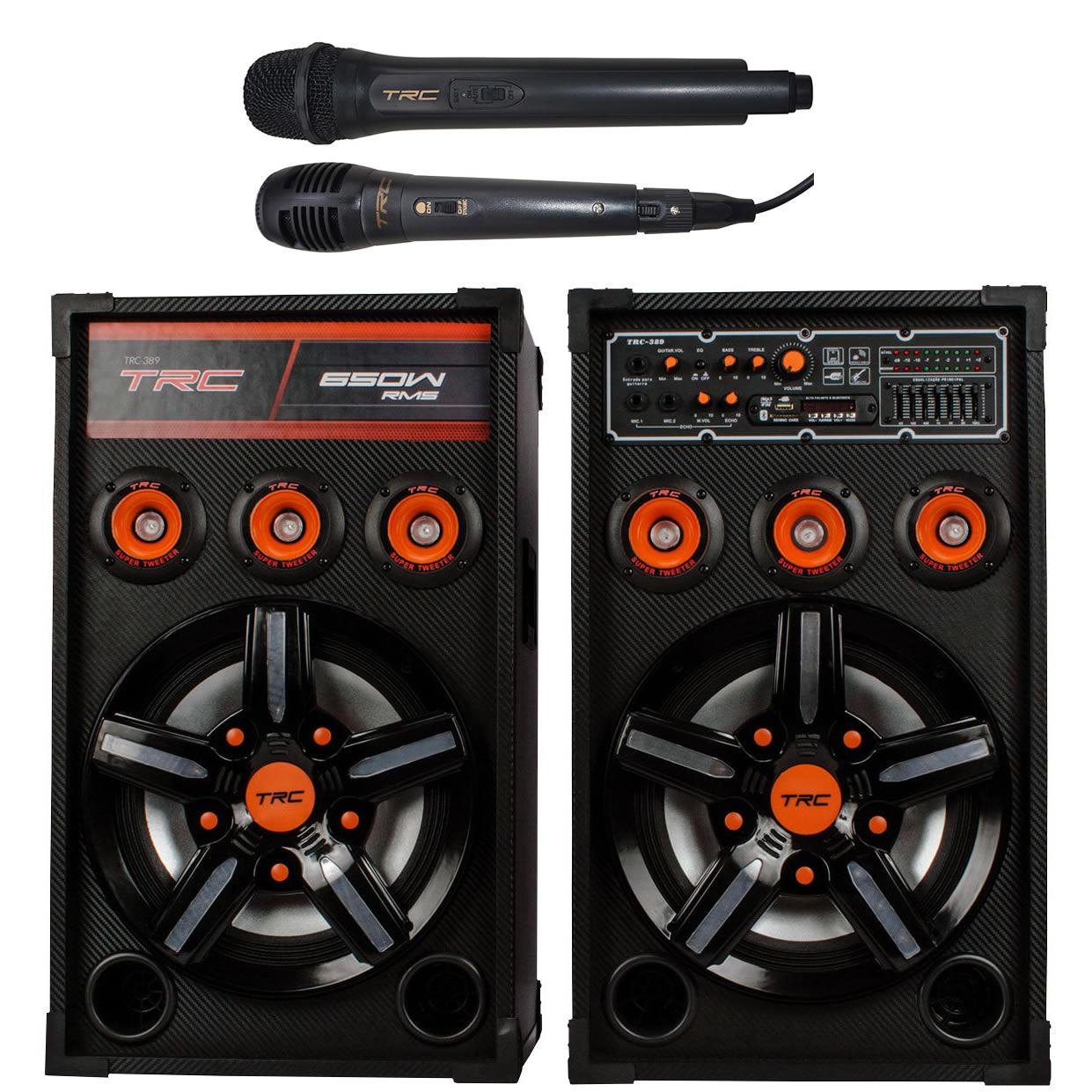 Caixa de Som TRC Amplificada 650W TRC 389 Bluetooth