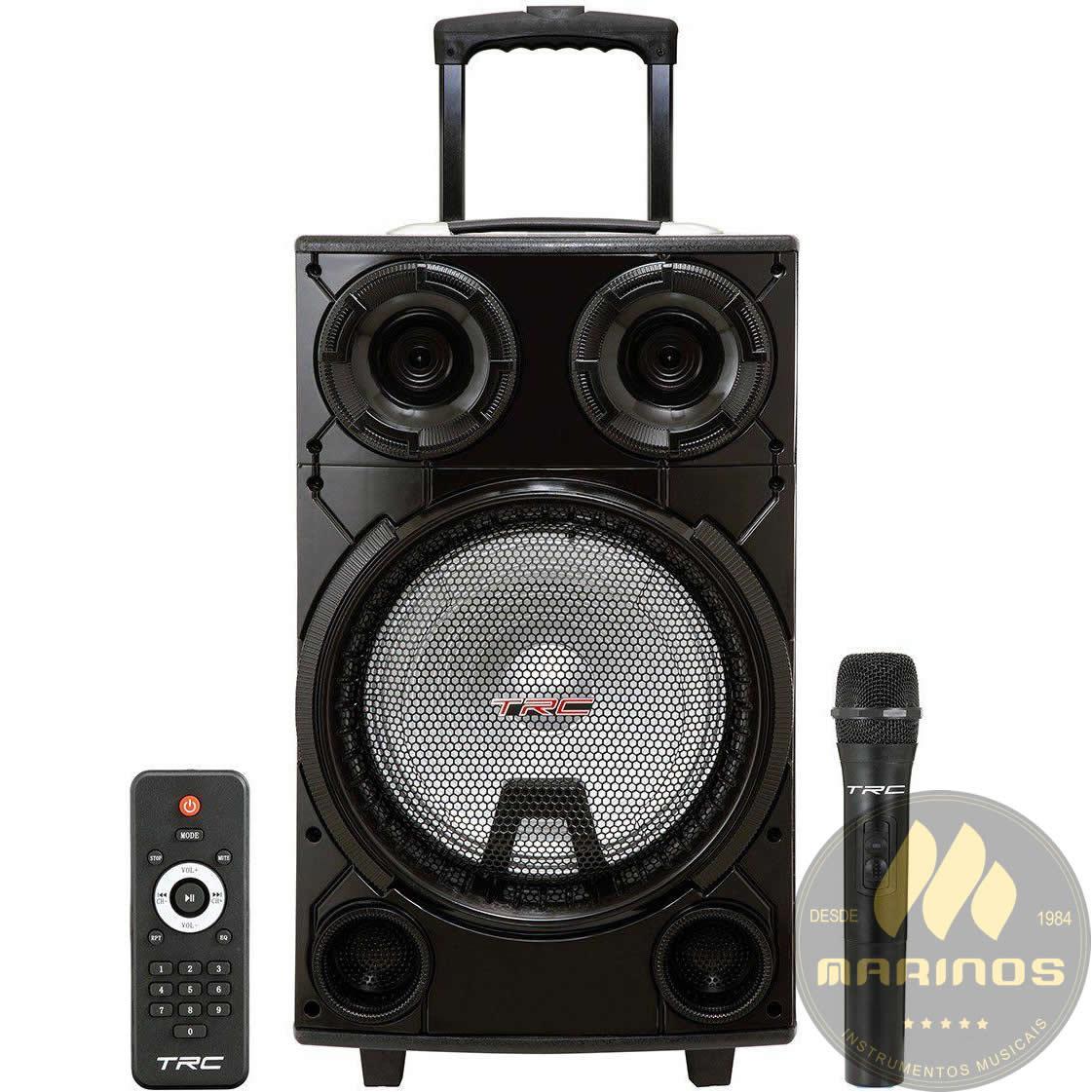 Caixa de Som TRC Ativa 800W TRC 736 Microfone Sem Fio