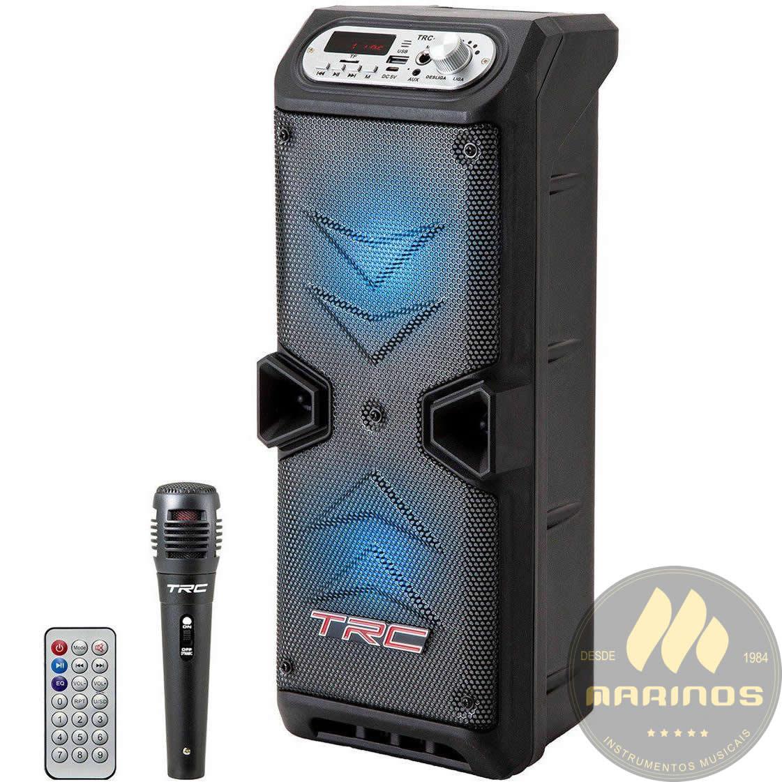 Caixa de Som TRC Ativa Dupla 35W TRC 219 Bluetooth Microfone Com Fio