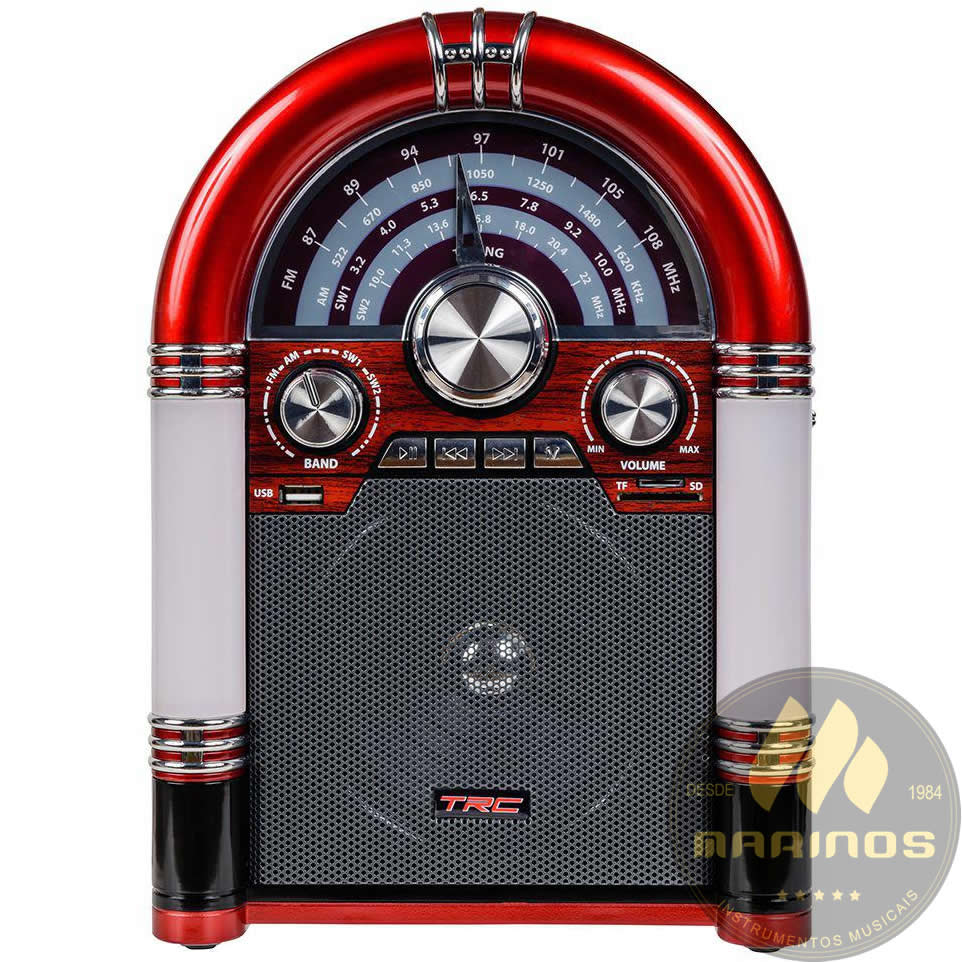 Caixa de Som TRC Portátil Retro TRC 210 Bluetooth