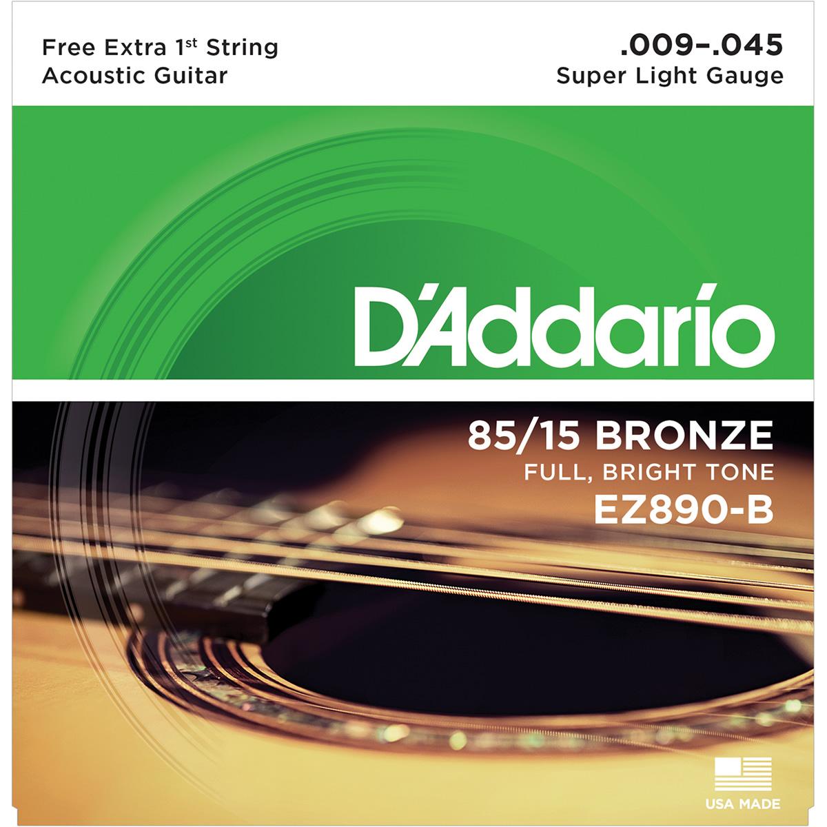 Encordoamento DADDARIO Violão Aço 009 EZ890-B Super Light