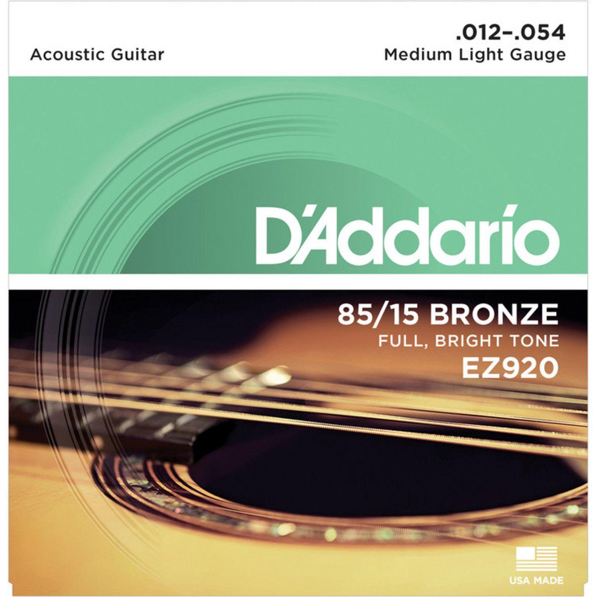 Encordoamento DADDARIO Violão Aço 012 EZ920 Medium Light Gauge