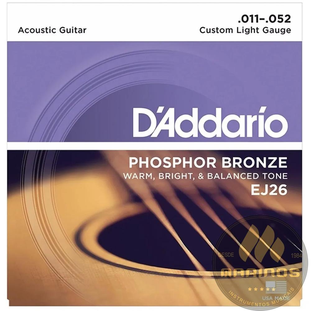 Encordoamento DADDARIO Violão Aço Fósforo Bronze 011 EJ26
