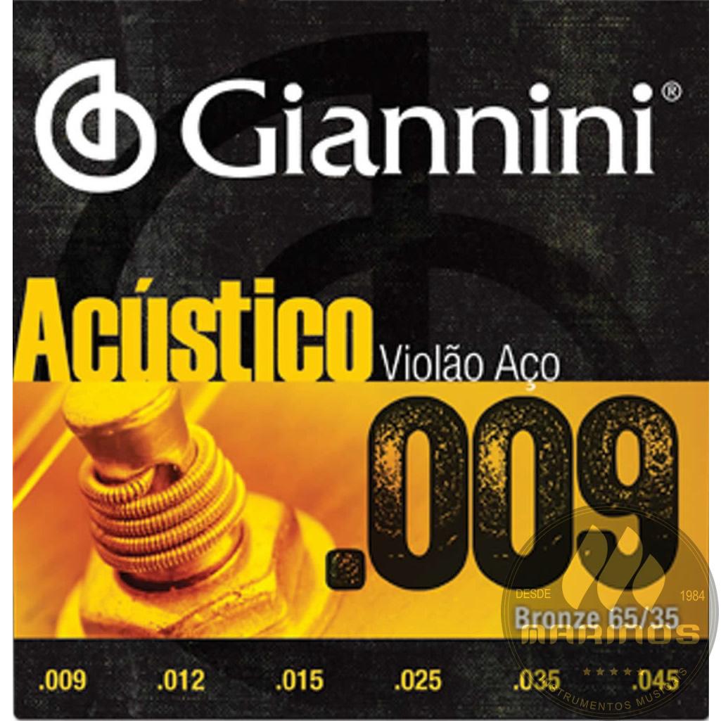 Encordoamento GIANNINI Violão Aço Acústico 009 GESWAL