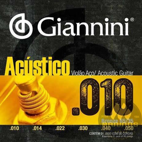 Encordoamento GIANNINI Violão Aço Acústico 010 GESWAM