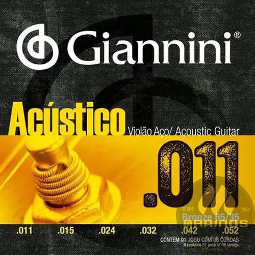 Encordoamento GIANNINI Violão Aço Acústico 011 GESPW