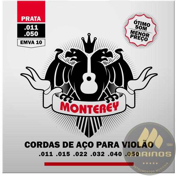 Encordoamento MONTEREY Violão Aço 011 EMVA10 Prata