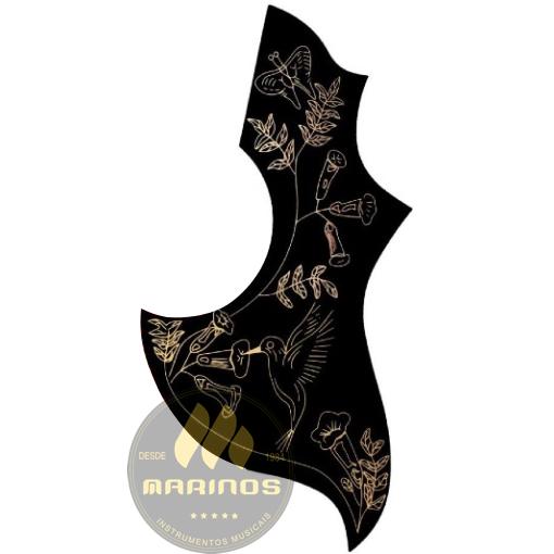 Escudo para Violão RONSANI FLORAL HUMMING BIRD LONG BLACK
