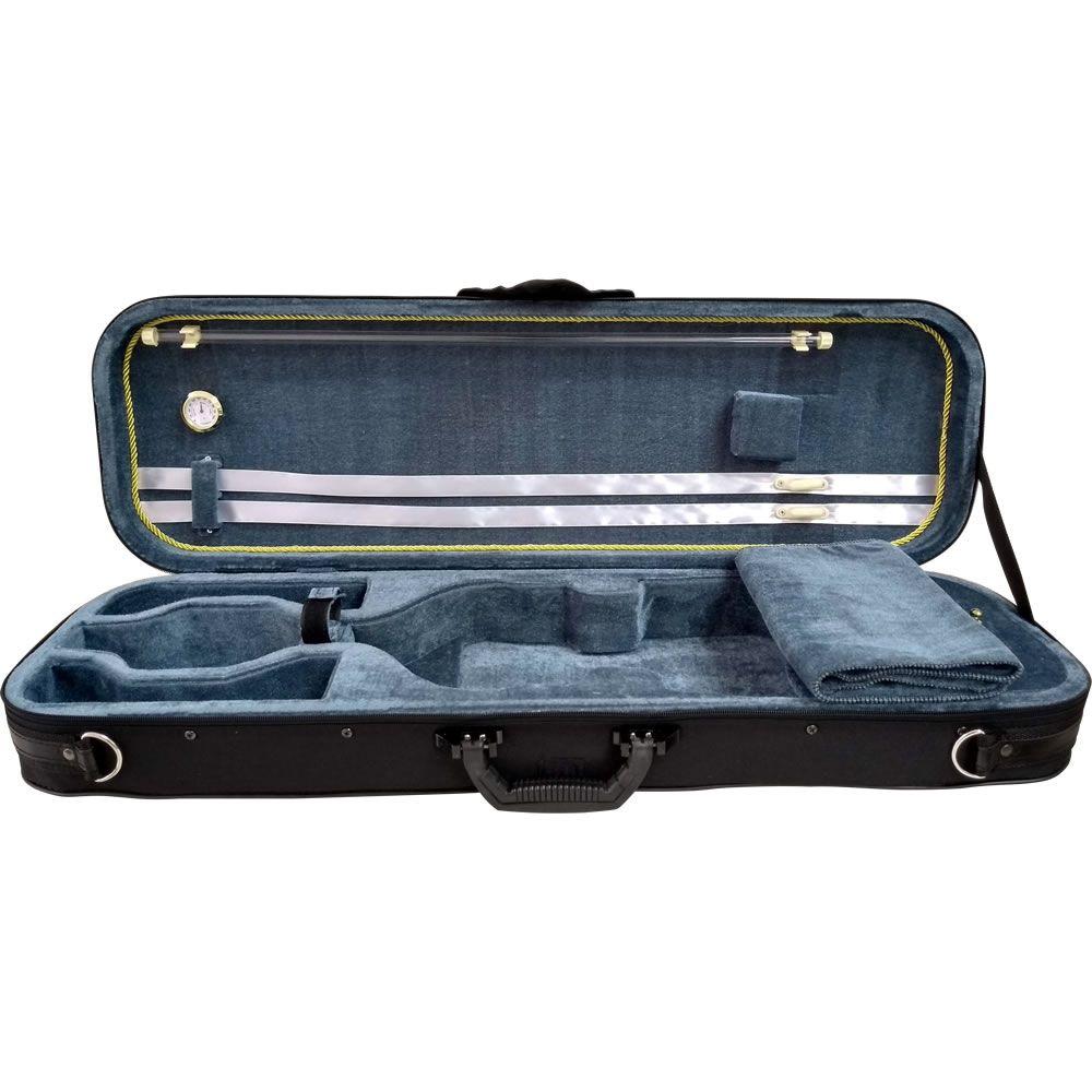 Estojo MARINOS Case Violino Retangular Super Luxo com Higrômetro MEV-140 4/4