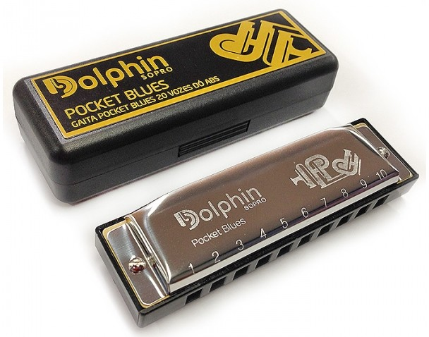Gaita DOLPHIN Diatônica Pocket Blues 20 Vozes DÓ