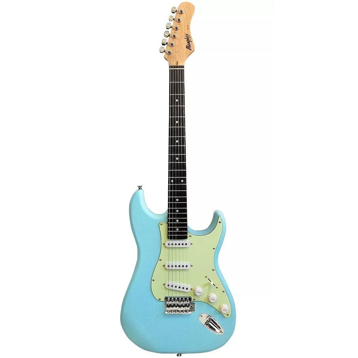 Guitarra MEMPHIS Tagima MG 30 SBLS Sonic Blue Satin Escudo MG Mintgreen