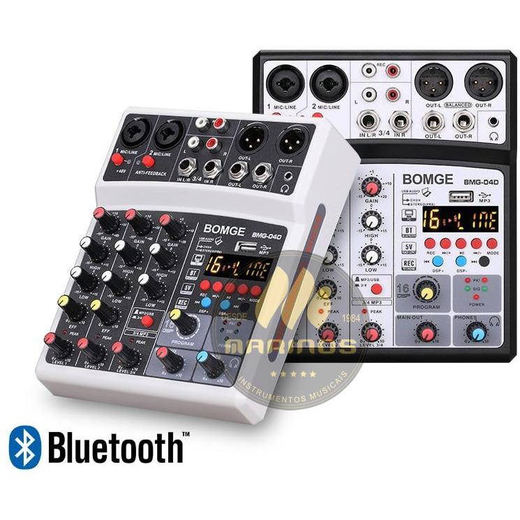 Mesa de Som BOMGE 4 Canais Interface BMQ4D Buetooth Efeito XLA