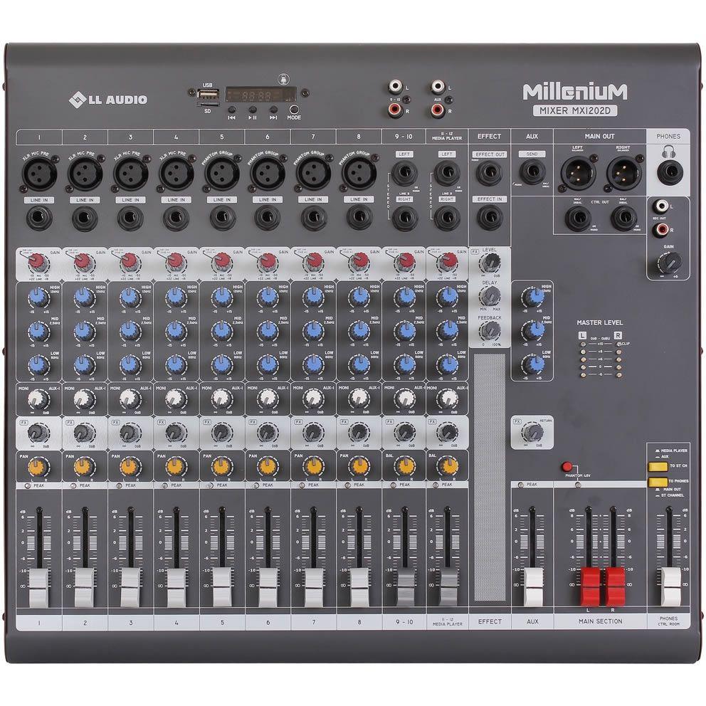 Mesa de Som LL AUDIO 12 Canais MILLENIUM MX1202D