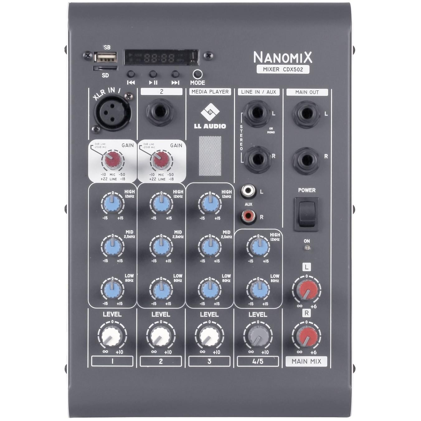 Mesa de Som LL AUDIO 4 Canais NANOMIX CDX502R