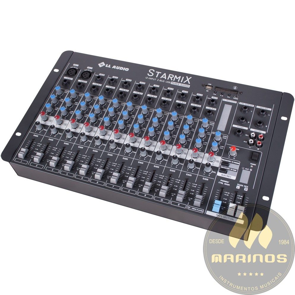 Mesa de Som LL AUDIO STARMIX 12 Canais S1202D  BT