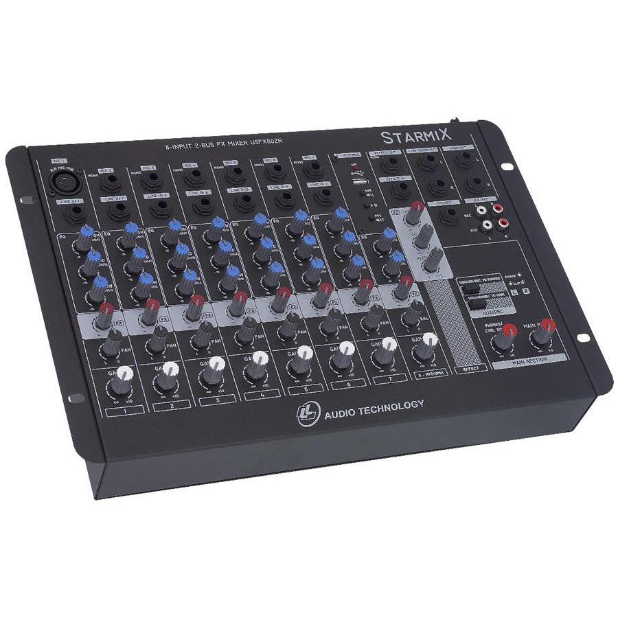 Mesa de Som LL AUDIO STARMIX 8 Canais USFX802R USB Com Efeito