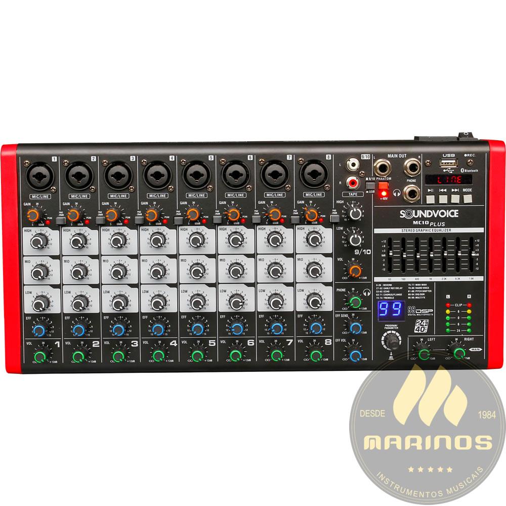 Mesa de Som SOUNDVOICE 10 Canais MC10 PLUS EUX