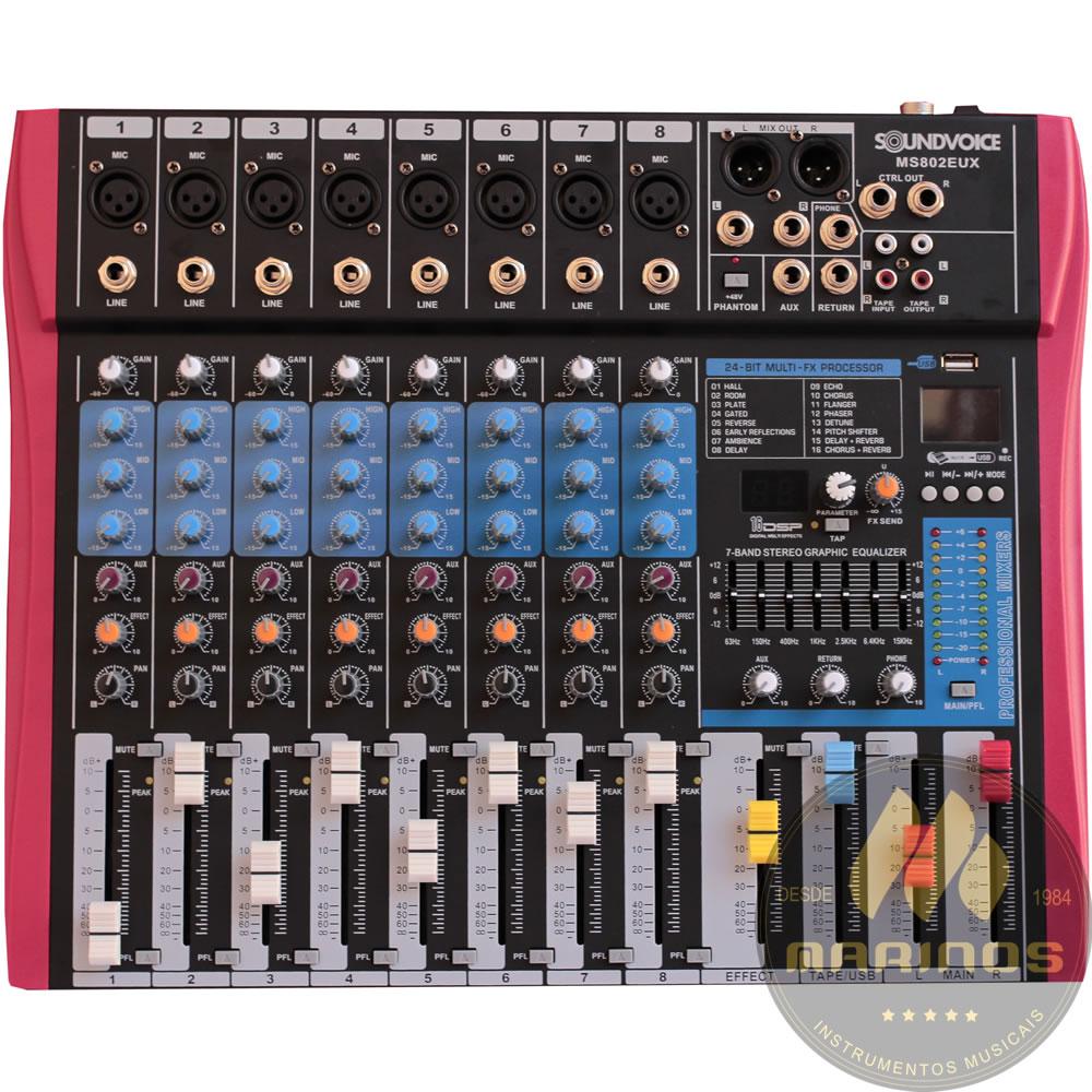 Mesa de Som SOUNDVOICE 8 canais MS802 EUX Efeito