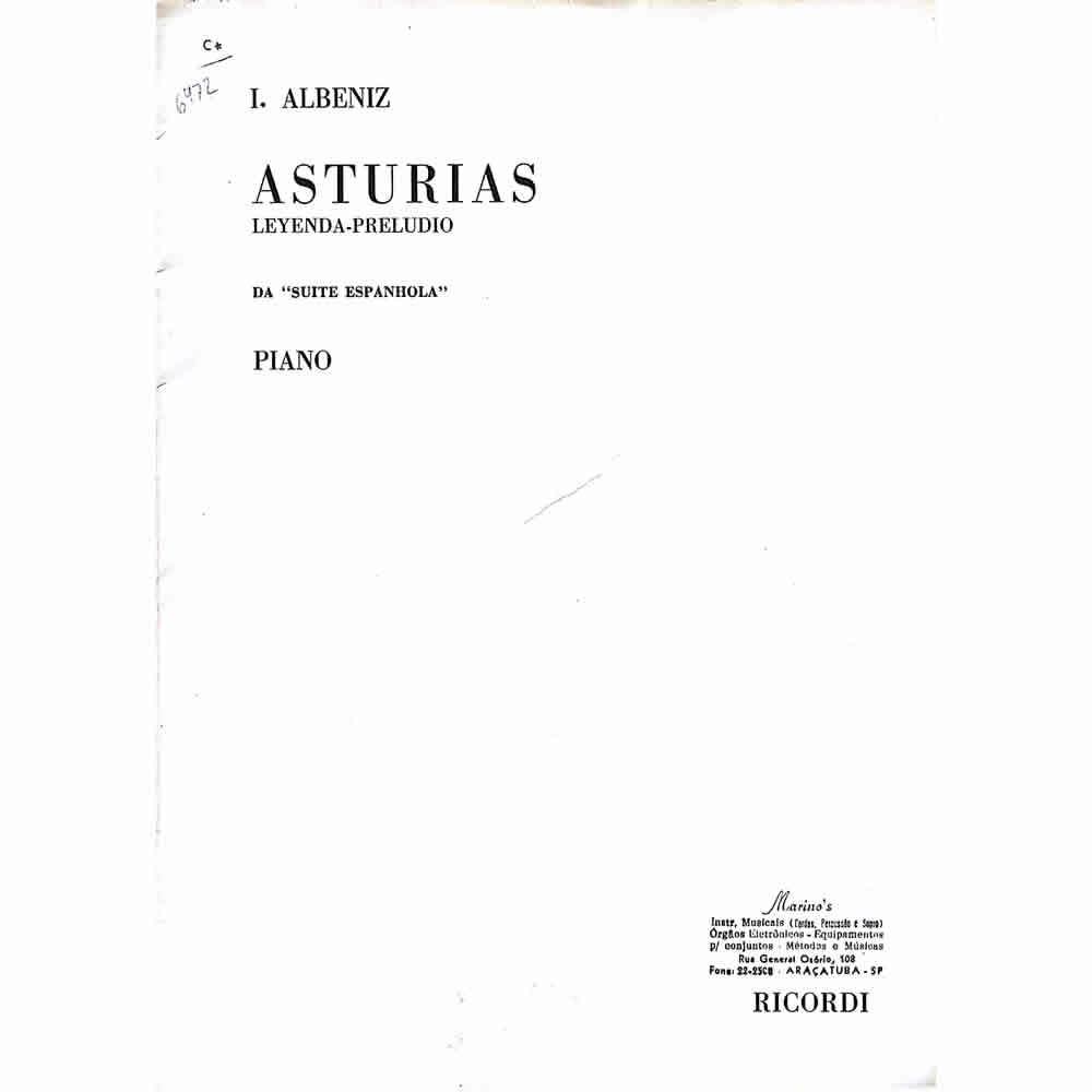 Método Partitura Piano - I. Albeniz ASTURIAS Leyenda-Preludio da