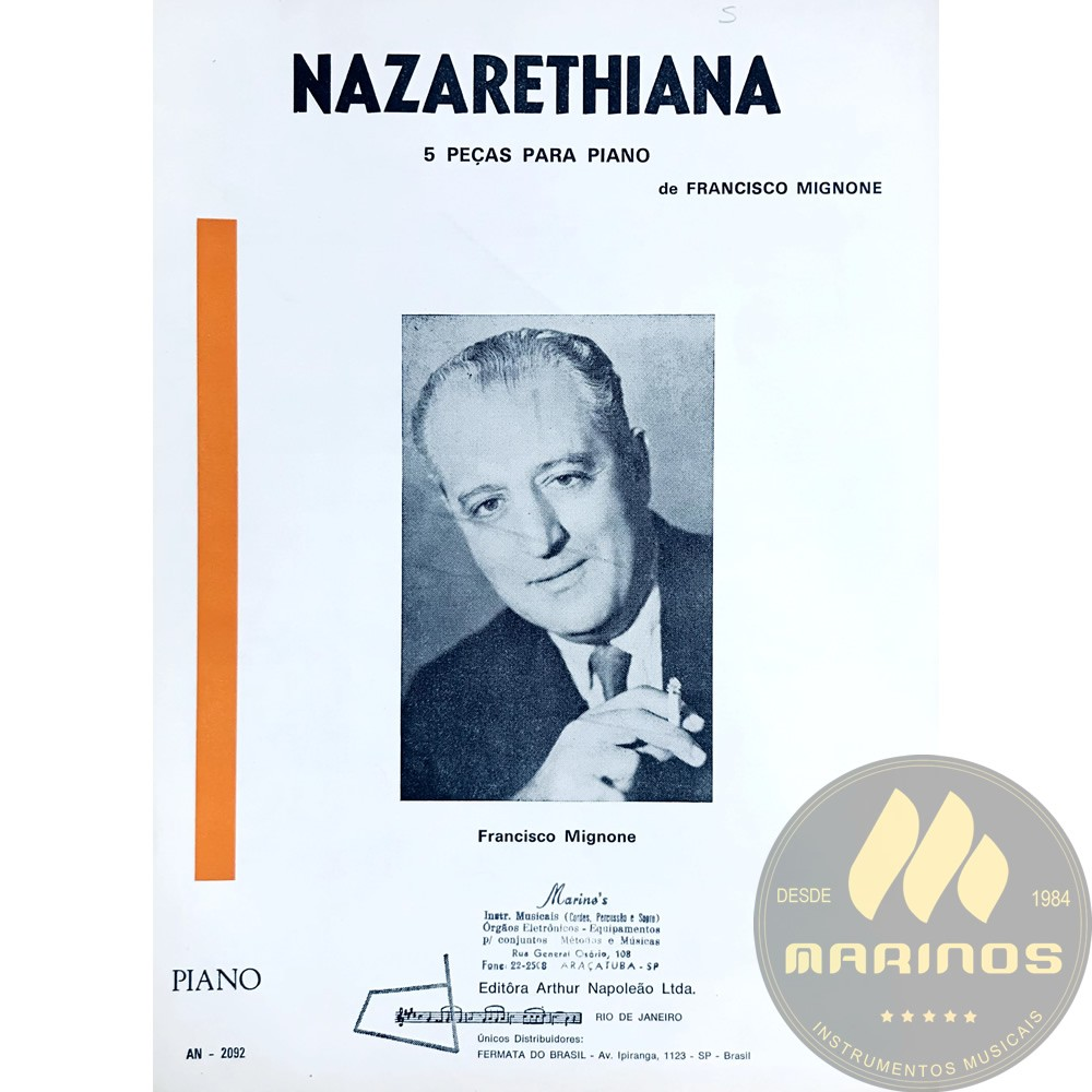 Método Partitura Piano - Nazarethiana 5 Peças Para Piano - Francisco Mignone