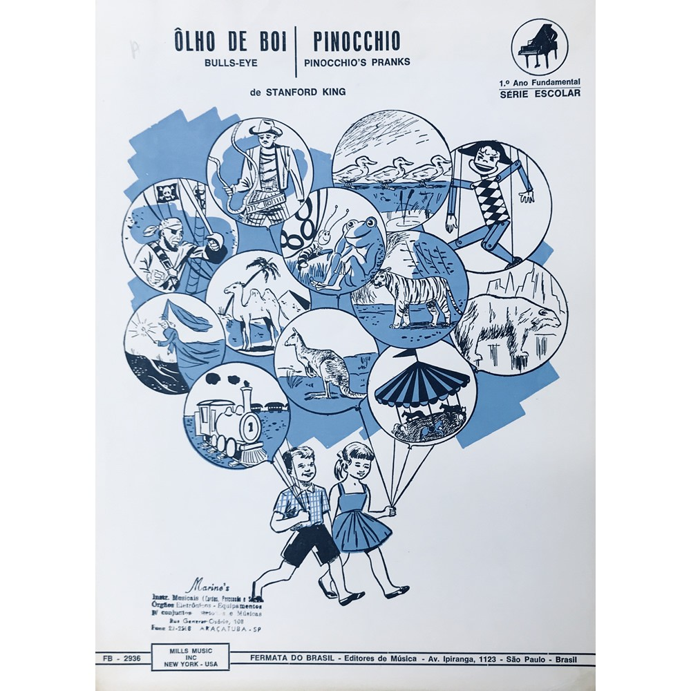 Método Partitura Piano - OLHO DE BOI - PINOCCHIO - Stanford King