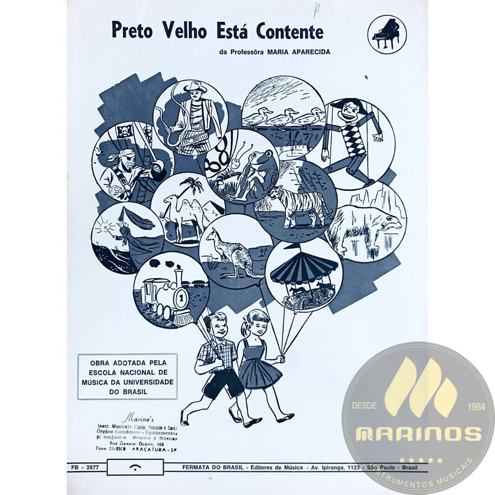 Método Partitura Piano - PRETO VELHO ESTÁ CONTENTE - Prof. Maria Aparecida