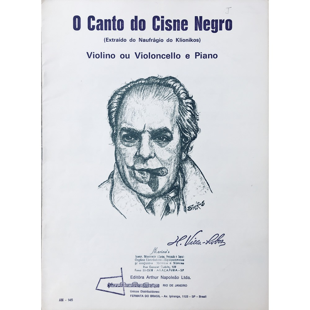 Método Partitura Violino Violoncelo e Piano - CANTO DO CISNE NEGRO - H. Villa Lobos