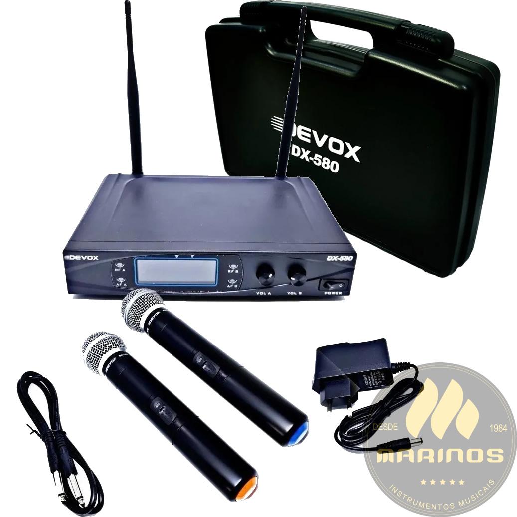 Microfone DEVOX Sem Fio Duplo de Mão UHF DX580