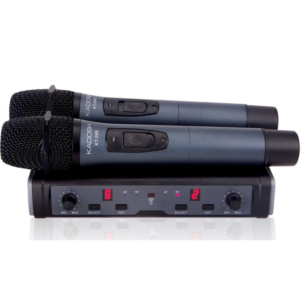 Microfone KADOSH Sem Fio Duplo de Mão UHF 16 Canais K-532MM