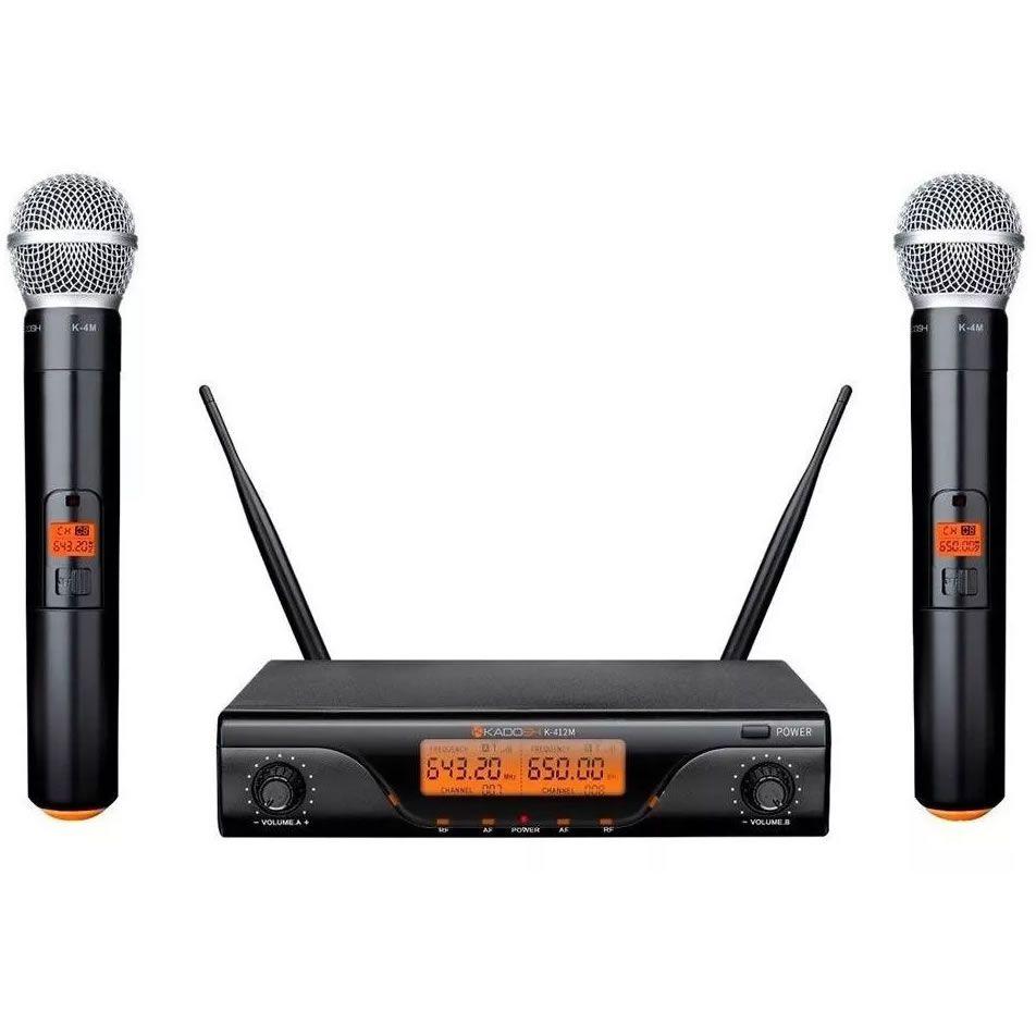 Microfone KADOSH Sem Fio Duplo de Mão UHF Digital K-412M