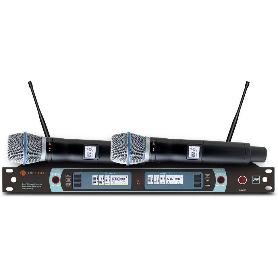 Microfone KADOSH Sem Fio Duplo de Mão UHF Digital K-882 M