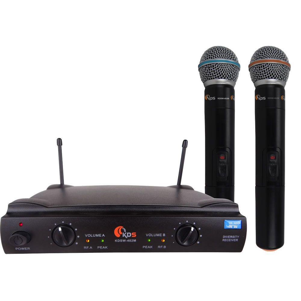 Microfone KADOSH Sem Fio Duplo de Mão UHF K-402 MM