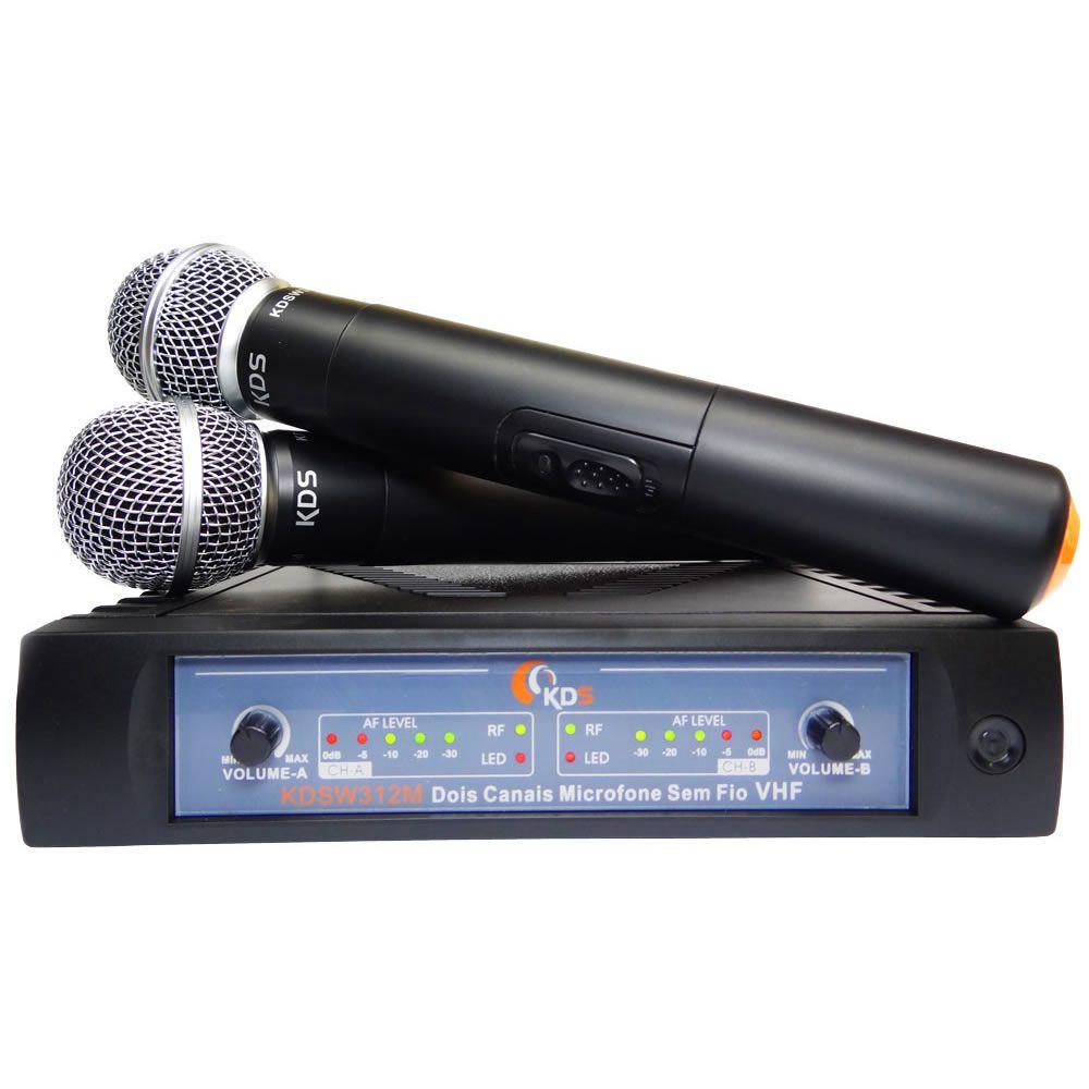 Microfone KADOSH Sem Fio Duplo de Mão VHF K-312 MM