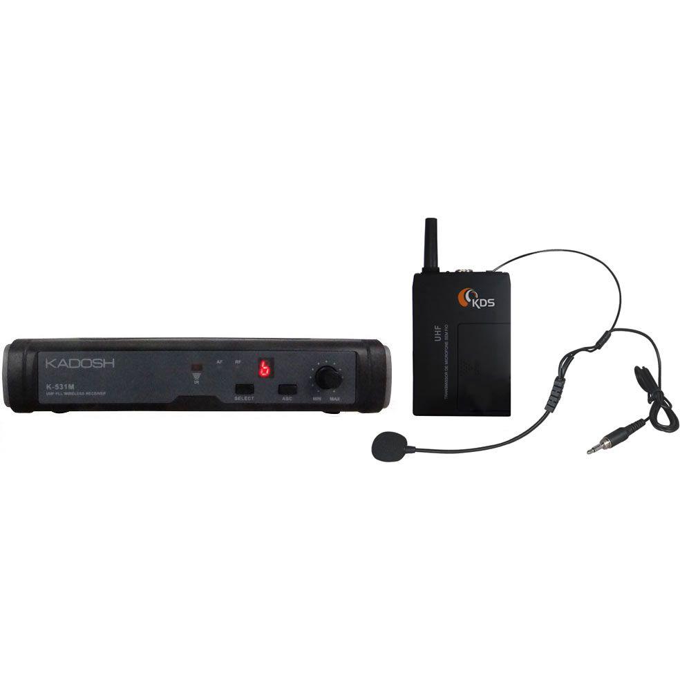 Microfone KADOSH Sem Fio Headset UHF 16 Canais K-531C