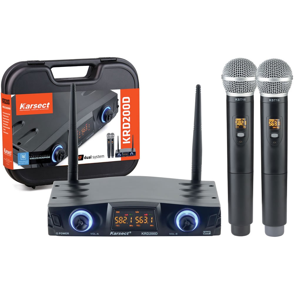 Microfone KARSECT Sem Fio Duplo de Mão UHF KRD200DM